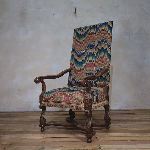 17th C Walnut Open Armchair - National Trust - In Pointe d'Hongerie Needlework -