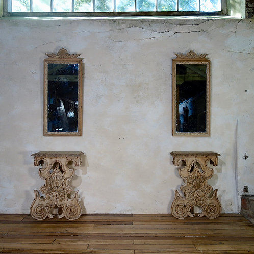 A Near Pair Of Continental Console Tables With Pier Mirrors