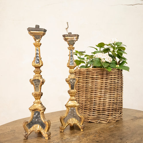 A Pair Of 18th Century Gilded & Mirrored Glass Venetian  Altar - Candlesticks