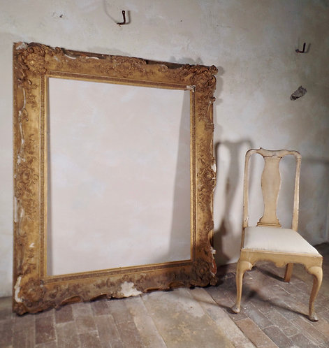 18th Century Antique Large French Rocco Swept Picture Frame