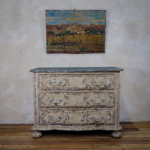 An Original Painted French Serpentine Commode - Chest of Drawers