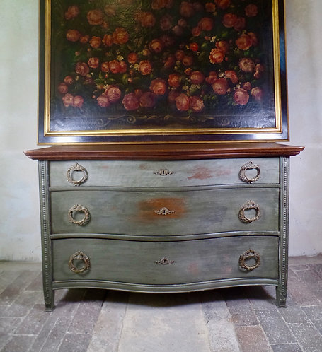 Antique French Continental Serpentine Chest Of Drawers Painted Green