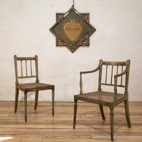 A Charming Near Pair Of Regency Green Painted Occasional - Elbow Chairs