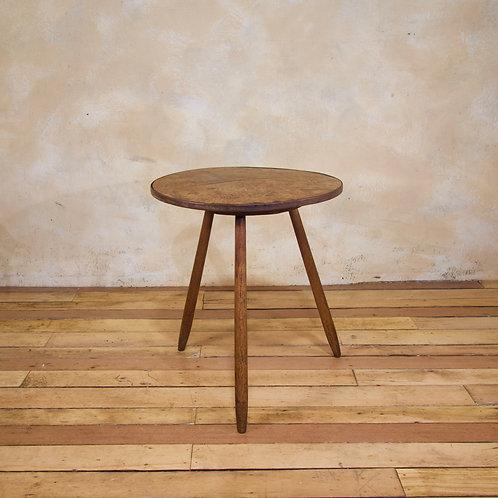A George III Burr Elm & Oak Primitive Cricket Table