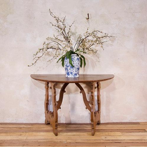 A Charming 18th Century Italian Demi-Lune Lyre-Leg Fruitwood Table