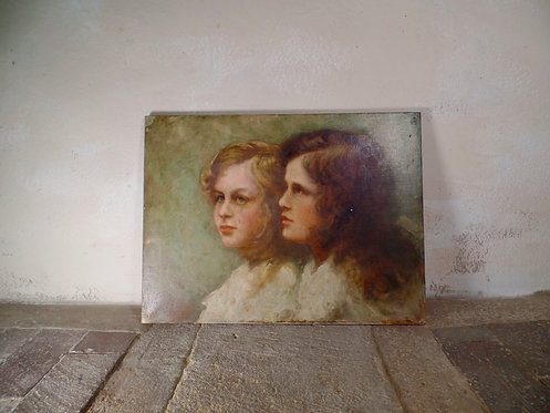 English School Oil Painting Of Two Girls