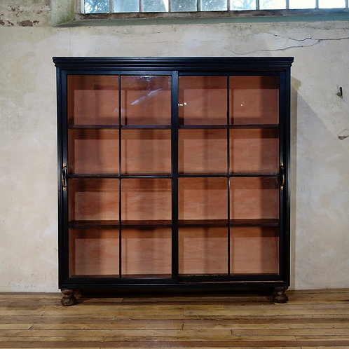 A 19th Century Ebonised Glazed Sliding Door Apothecary Cabinet
