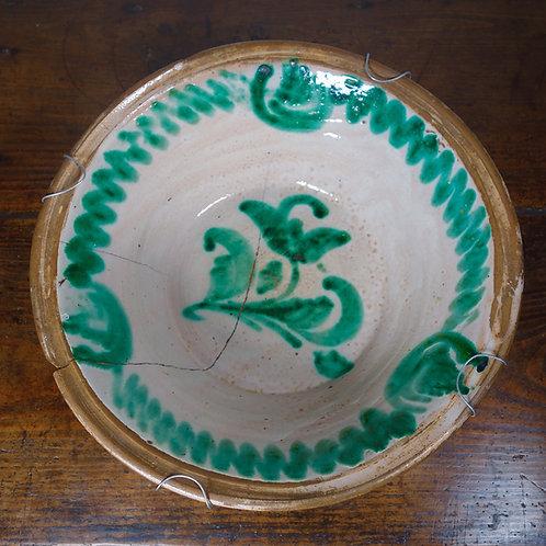 19th Century Spanish Dairy Bowl Granada Lebrillo Earthenware