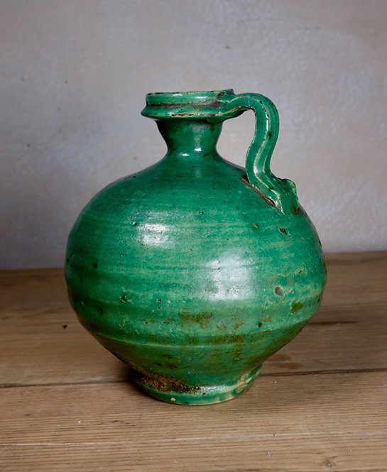 An Antique French Green Olive Oil Jug