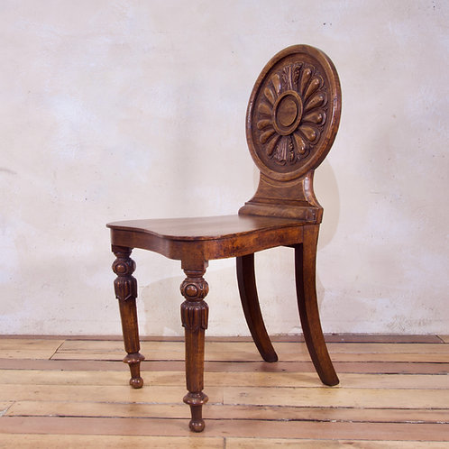 A 19th-Century William IV Elm And Burr Elm Hall Chair