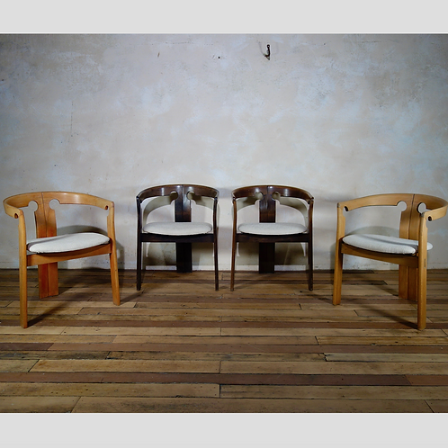 Six Midcentury 'Pigreco' Chairs Afra and Tobia Scarpa Style