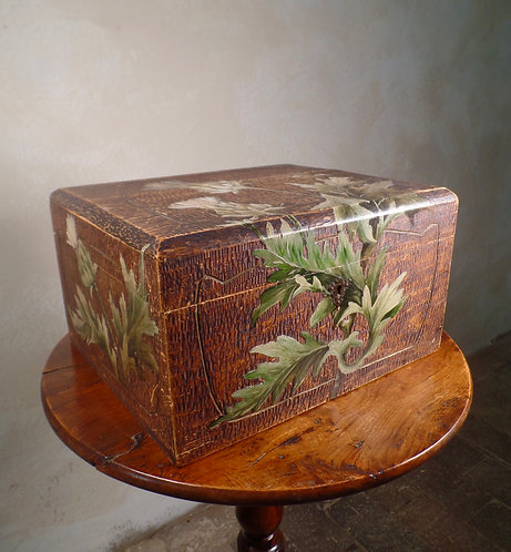 Hand Painted Scottish Thistles Adzed Table box