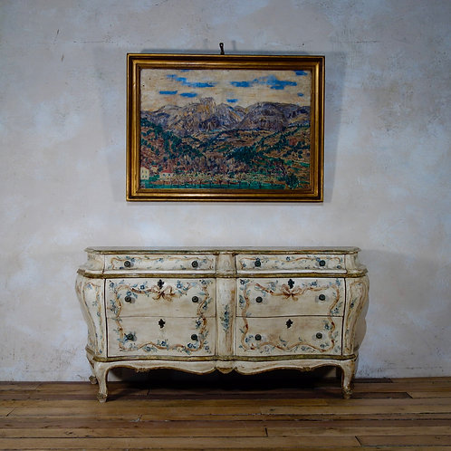 19th Century Italian Venetian Painted Bombe Sideboard - Commode