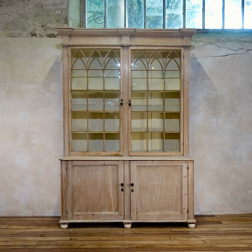 A 19th Century Gothic Bleached Pine Cabinet - Bookcase