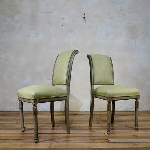 A Pair Of French 19th Century Painted Louis XVI Style Side Chairs