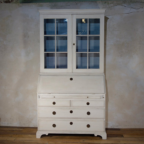 An 18th Century Painted Gustavian Bureaux Glazed Bookcase