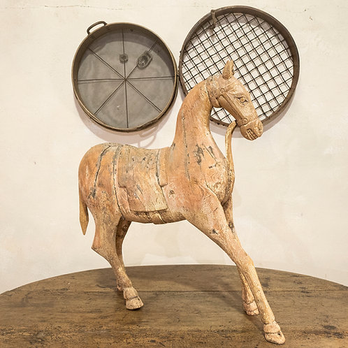 A Large 19th Century Carved Indian Horse - Original Paint