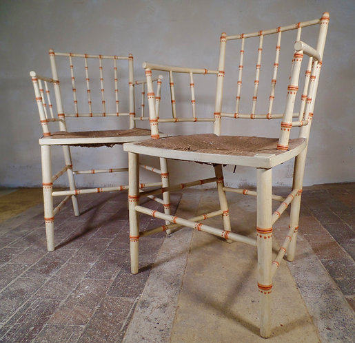 A Pair of Regency Faux Bamboo Armchairs