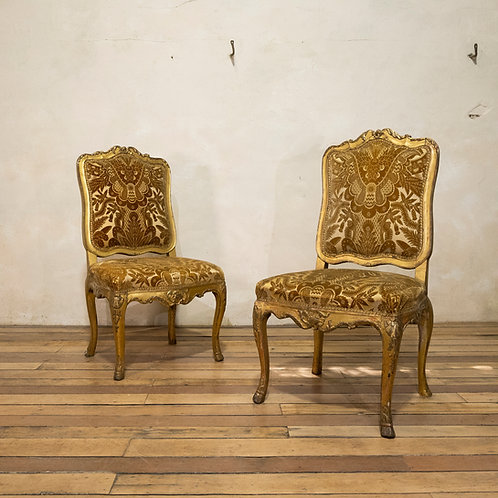 A Pair Of French Louis XV Giltwood Side Chairs
