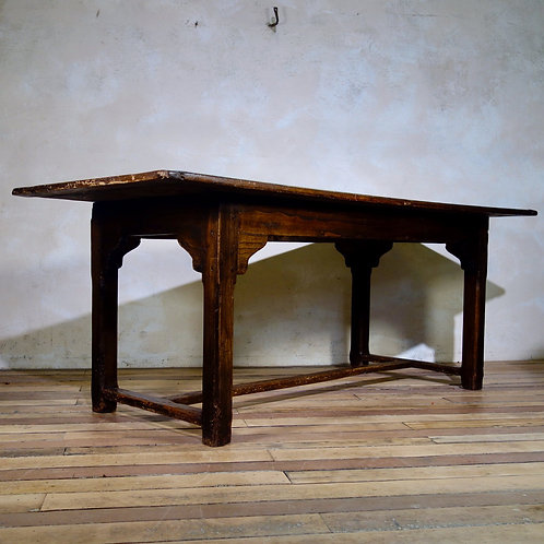 A Late 18th Cent Elm & Oak Farmhouse Trestle Table