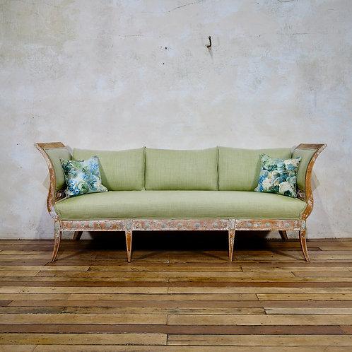 An Elegant 18th Century Gustavian Dry Scraped Sofa  Lindome Circa 1790