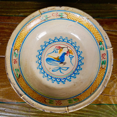 A Spanish Tin Glaze Bowl With Bird Decoration