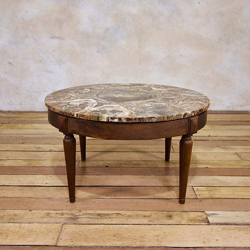 A Circular Petrified Wood Low - Coffee Table