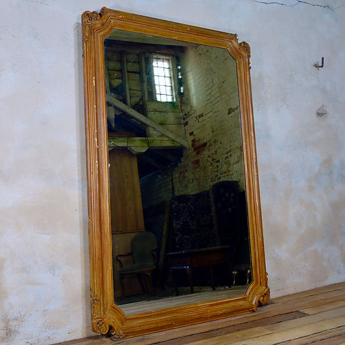 A Large 19th Century French Giltwood Floor - Wall Mirror