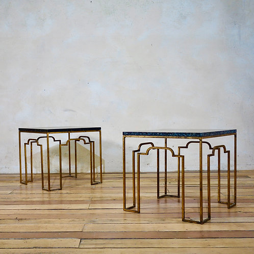 A Charming Pair Of 20th Century Gilt Metal Occasional Tables