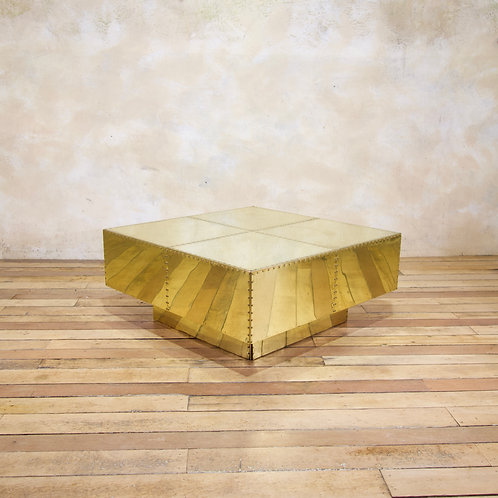 A Striking Square 1970s Tiered Sarreid Brass Coffee Table - Spain