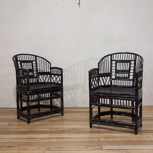A Pair Of 20th Century Ebonised & Gilt 'Brighton Pavilion' Bamboo Armchairs