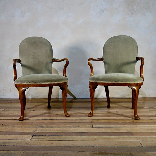 A Pair Of George I Style Shepherd Crook Armchairs