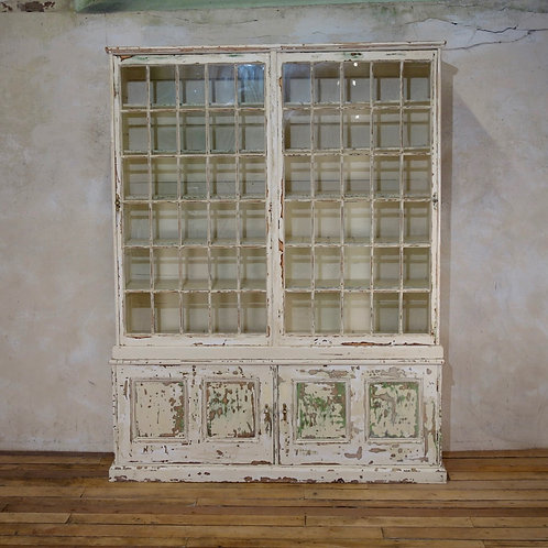 A Large 19th Century Painted Glazed Bookcase Cabinet