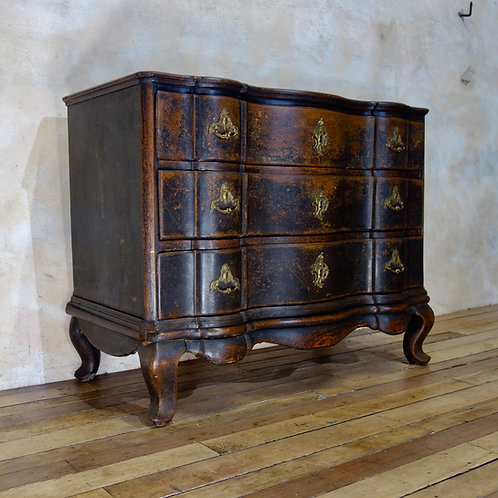 A Large 18th Century Danish Baroque Ebonised Commode