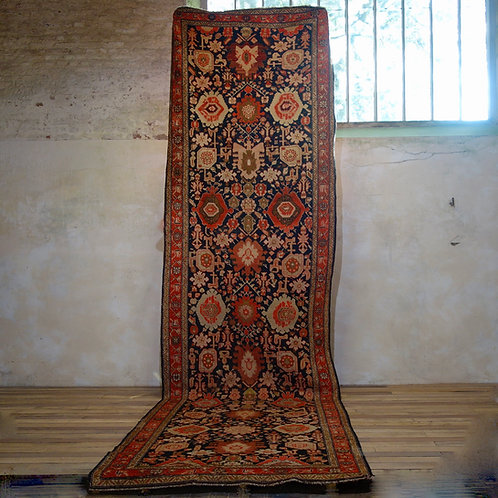 Extremely Long (5.4meters) Early 20th Century Kuba Kelleh Corridor Carpet - Rug