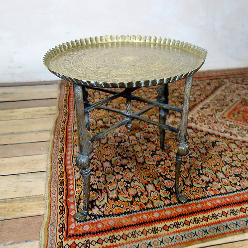 An 18th Century Small Moorish Brass Tray Top Folding Table