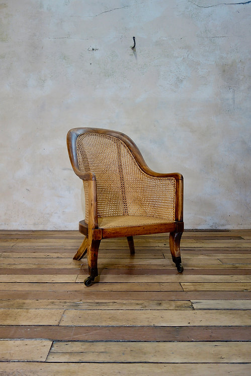 A Regency Caned Bergere Library Tub Chair - Gillows Manner