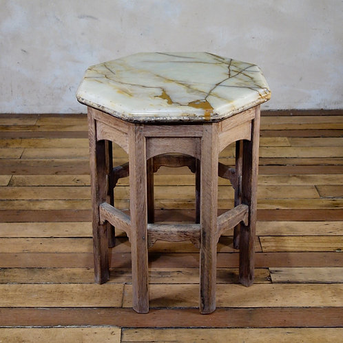 A 19th Century Oak Octagonal Table - Onyx Top