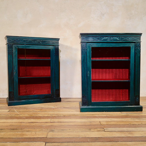A Near Pair Of Regency Style Green Painted Pier Display Cabinets Glazed