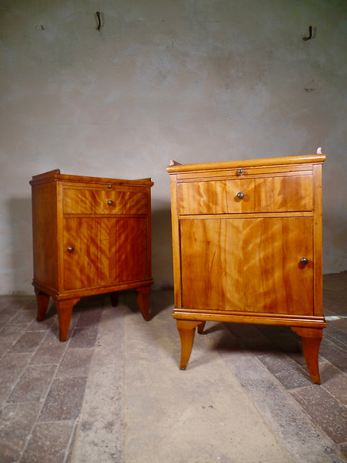 A Pair of Satinwood Bedside Cabinets