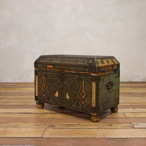 A Small 19th Century French Studded Chest - Trunk