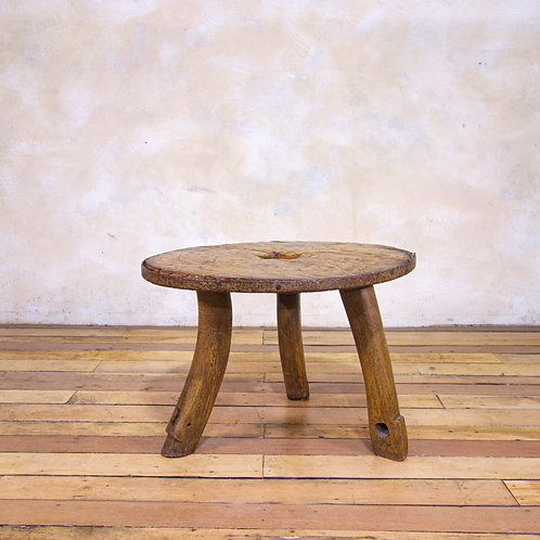 An 18th Century Ox Cart Wheel Top Low Side Table