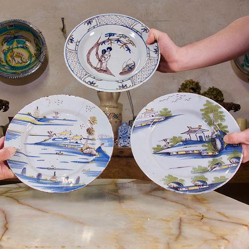 A Selection Of Three 18th Century English/Bristol Delft plates