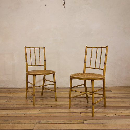 A Pair Of Late 19th Century Painted Faux Bamboo Side Chairs