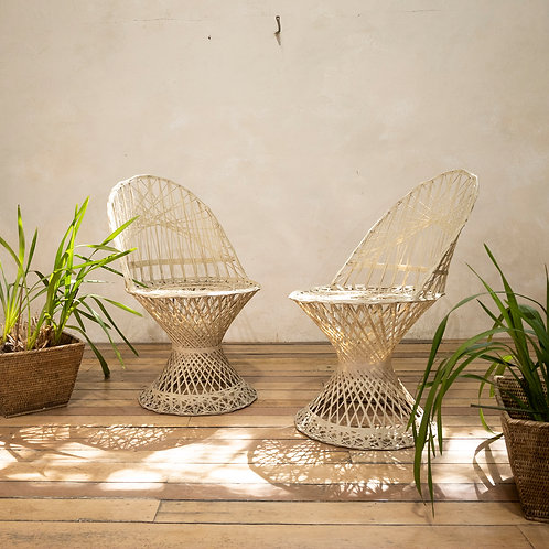 A Pair Of mid-20th Century Russell Woodard Wicker Effect Side Chairs