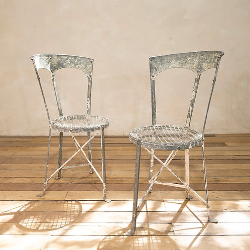 A Charming Pair of Small French Garden Chairs
