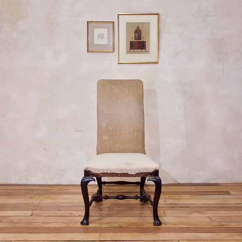 An 18th Century Ebonised & Upholstered Queen Anne Side Chair
