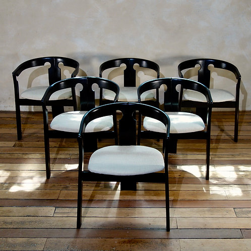 A Set Of Six Italian Tub Chairs In The Manner Of Afra & Tobia Scarpa