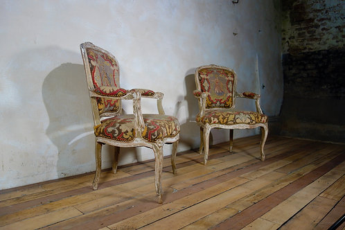 A Pair Of Fauteuil French Painted Armchairs