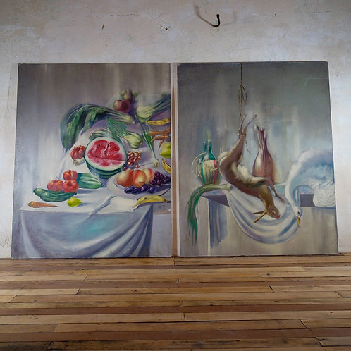 An Extremely Large Pair Of Oil Still Life Paintings